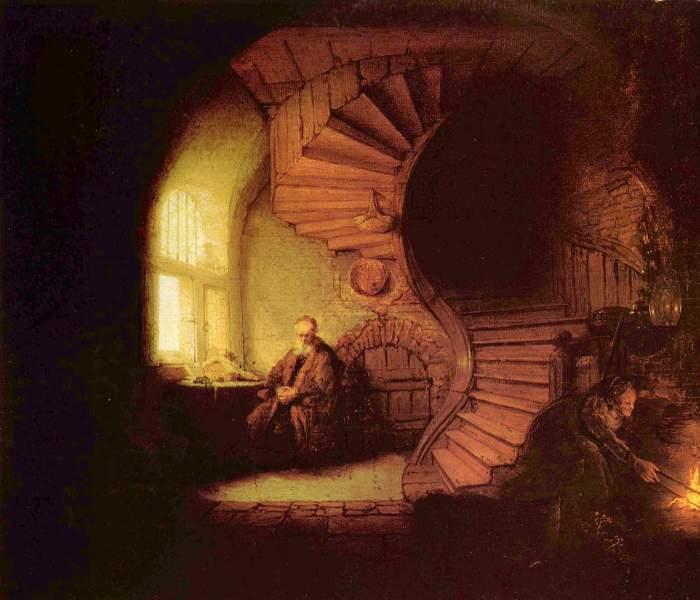 O Filósofo em Meditação, 1632 | Musée du Louvre - 28 X 34cm - Rembrandt (1606 - 1669)