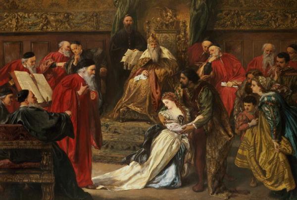 Cordelia na Corte do Rei Lear, por John Gilbert, 1873 - Towneley Hall, Burnley, UK